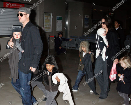 Stock Photo of Brad Pitt with Knox Leon Jolie-Pitt and Zahara Jolie-Pitt, Angelina Jolie with Viviene Marcheline Jolie-Pitt, Shiloh Jolie-Pitt and Maddox Chivan Thornton Jolie-Pitt