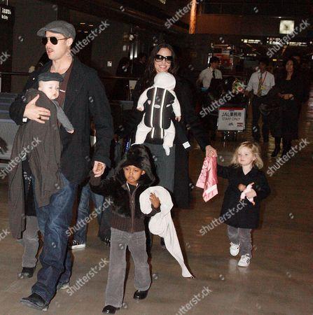 Stock Picture of Brad Pitt with Knox Leon Jolie-Pitt and Zahara Jolie-Pitt, Angelina Jolie with Viviene Marcheline Jolie-Pitt, Shiloh Jolie-Pitt and Maddox Chivan Thornton Jolie-Pitt