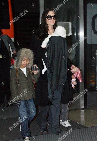 Stock Image of Angelina Jolie with Viviene Marcheline Jolie-Pitt, Shiloh Jolie-Pitt and Maddox Chivan Thornton Jolie-Pitt