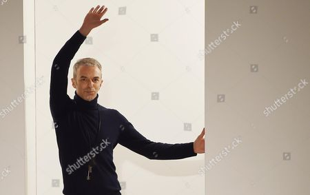 Italian Designer Rodolfo Paglialunga Appears On the Catwalk at the End of Presentation From the Fall/winter 2015/16 Men's Collection of German Fashion House Jil Sander During the Milan Fashion Week in Milan Italy 17 January 2015 the Fashion Week Runs From 17 to 20 January