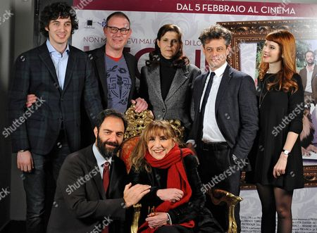 (back L-r) Italian Actors/cast Members Pierpaolo Spollon Director Pietro Parolin Helene Olivi Borghese Stefano Pesce Anna Dalton and Front Row (l-r) Neri Marcore and Piera Degli Esposti Pose For Photographs During the Photocall For the Movie 'Leoni' in Rome Italy 29 January 2015 the Movie Will Be Released in Italian Theaters On 05 February