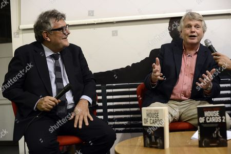 A Picture Made Available On 19 November 2014 Shows British Conservative Politician and Author Michael Dobbs (r) and Italian Magistrate and Writer Giancarlo De Cataldo (l) Speaking During a Press Conference where He Presented His Novel House of Cards in Rome Italy 18 November 2014