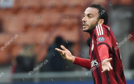 Stock Image of Milan's Forward Gianpaolo Pazzini Reacts During the Serie a Soccer Match Between Ac Milan - Atalanta Bc at the Giuseppe Meazza Stadium in Milan Italy 18 January 2015