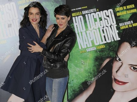 Stock Image of Italian Actress/cast Member Micaela Ramazzotti (l) and Italian Director Giorgia Farina (r) Pose During the Photocall of 'Ho Ucciso Napoleone' (i Killed Napoleon) in Rome Italy 24 March 2015 the Movie Will Be Released On 26 March in Italian Theaters