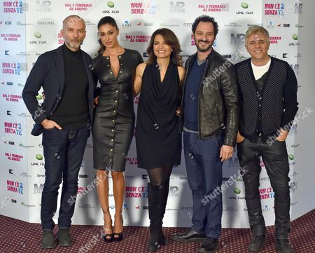 (l-r) Italian Director Massimo Cappelli Argentine Actress/cast Member Belen Rodriguez Italian Actors/cast Members Tosca D'aquino Fabio Troiano and Dino Abbrescia Pose During the Photocall For 'Non C'e' 2 Senza Te' (lit: There is No 'Second Without You) in Rome Italy 28 January 2015