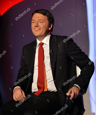Italian Prime Minister Matteo Renzi Speaks During the La7 Tv Programm 'Bersaglio Mobile' Conducted by Journalist Enrico Mentana in Rome Italy 22 May 2015