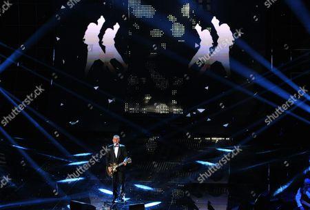 Italian Singer Alex Britti Performs On Stage During the Sanremo Italian Song Festival at the Ariston Theater in Sanremo Italy 14 February 2015 the 65th Festival Della Canzone Italiana Runs From 10 to 14 February