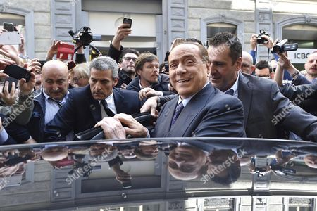 Ac Milan President Silvio Berlusconi (c) Leaves at the End of the Meeting with Thai Businessman Bee Taechaubol in Milan Italy 02 May 2015