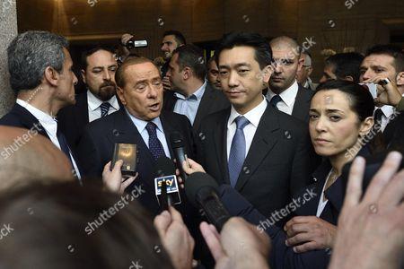 Ac Milan President Silvio Berlusconi (c-l) and Thai Businessman Bee Taechaubol (c-r) Speak to Members of the Media at the End of Their Meeting in Milan Italy 02 May 2015