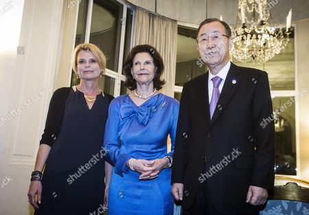The Secretary-general of the United Nations Ban Ki-moon (l) with the Queen Silvia of Sweden (c) and Asa Regner Swedish Minister For Children the Elderly and Gender Equality Attending a Dinner at the Swedish Embassy in Rome Italy 27 April 2015