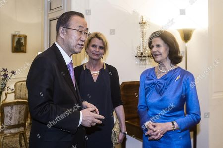 The Secretary-general of the United Nations Ban Ki-moon (l) Queen Silvia of Sweden (r) and Asa Regner (c) Swedish Minister For Children the Elderly and Gender Equality Attend a Dinner at the Swedish Embassy in Rome Italy 27 April 2015