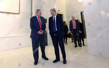 Stock Picture of Italian Foreign Minister Paolo Gentiloni (r) Meets John R Allen (l) Us Special Presidential Envoy For the Global Coalition to Counter Isil in Rome Italy 13 March 2015 Boh Talked About the Current Devlopmetns in the Fight On Jihadist Terror Militia is in General and in Northern Iraqi City Tikrit in Particular