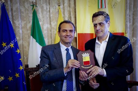 Naples Mayor Luigi De Magistris (l) and Stuart Milk (r) Us Lgbt Acticist and Co-founder of the Harvey Milk Foundation Pose During a Press Conference in Naples Italy 10 June 2015 Stuart Milk is the Nephew of Late Us Politician Harvey Milk Who Was Assassinated in 1978 Harvey Milk Was Considered the First Openly Gay Person Holding a Public Office in California
