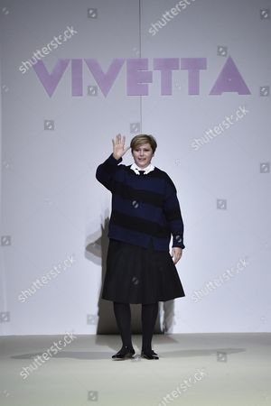 Stock Picture of Italian Designer Vivetta Ponti Appears On the Catwalk at the End of Presentation of Her Fall/winter 2015 Collection by Italian Fashion House Vivetta During the Milan Fashion Week in Milan Italy 28 February 2015 the Milano Moda Donna Will Run From 25 February to 02 March