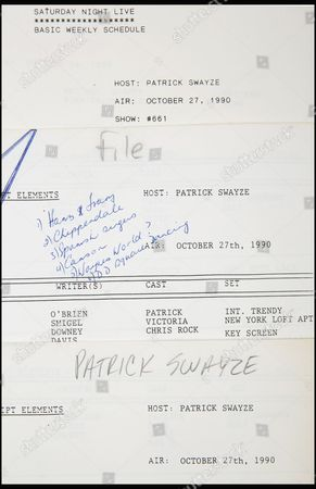 Patrick Swayze's original script from his guest host appearance on Saturday Night Live is estimated at £638.