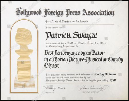 Patrick Swayze's certificate of nomination for a Golden Globe