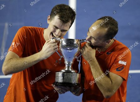 Jamie Murray of Britain (l) and Bruno Soares of Brazil (r) Celebrate with Winning Trophy After Their Double Final Match Against Daniel Nestor of Canada and Radek Stepanek of Czech Republic at the Australian Open Tennis Tournament in Melbourne Australia 30 January 2016 Australia Melbourne