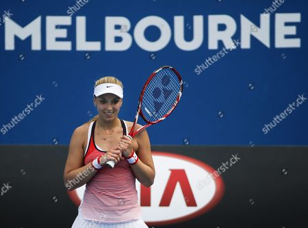 Sabine Lisicki of Germany Reacts During Her First Round Match Against Petra Cetkovska of the Czech Republic at the Australian Open Grand Slam Tennis Tournament in Melbourne Australia 19 January 2016 Australia Melbourne