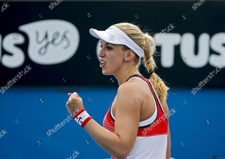 Sabine Lisicki of Germany Reacts After Winning Her First Round Match Against Petra Cetkovska of the Czech Republic at the Australian Open Grand Slam Tennis Tournament in Melbourne Australia 19 January 2016 Australia Melbourne