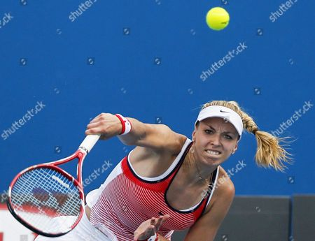 Sabine Lisicki of Germany Serves the Ball to Petra Cetkovska of the Czech Republic During Their First Round Match of the Australian Open Grand Slam Tennis Tournament in Melbourne Australia 19 January 2016 Australia Melbourne