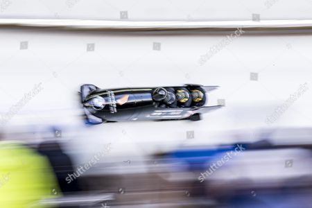 Britain's Pilot John James Jackson (front) and His Pushers Bradley Hall John Baines and Andrew Matthews in Action During the Four-man Competition of the Bobsleigh World Championships in Igls Austria 21 February 2016 Austria Igls