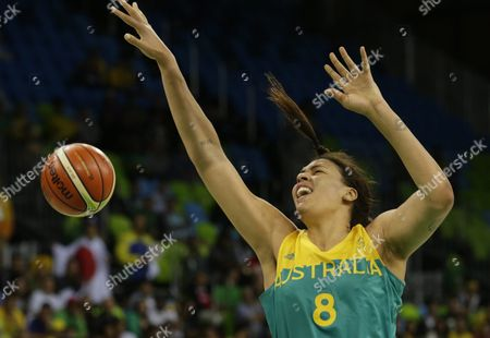 Elizabeth Cambage of Australia in Action During the Women's Preliminary Round Group a Match Between Japan and Australia For the Rio 2016 Olympic Games Basketball Tournament at the Youth Arena in Deodoro Rio De Janeiro Brazil 11 August 2016 Brazil Rio De Janeiro