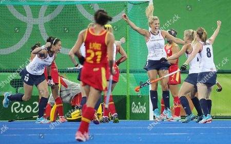 Great Britain's Georgie Twigg (c) Celebrates with Teammates After Scoring Against Spain on a Penalty Corner During Their Rio 2016 Olympic Games Women's Quarterfinal Match at the Olympic Hockey Centre in Rio De Janeiro Brazil 15 August 2016 Brazil Rio De Janeiro