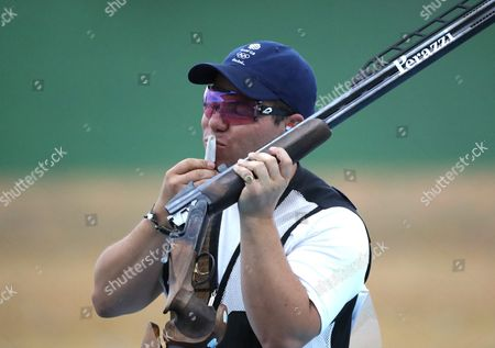 Steven Scott of Great Britain Reacts During the Rio 2016 Olympic Games Men's Double Trap Shooting Event at the Olympic Shooting Centre in Rio De Janeiro Brazil 10 August 2016 Brazil Rio De Janeiro