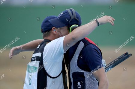 Tim Kneale (r) and Steven Scott (l) Both of Great Britain React During the Rio 2016 Olympic Games Men's Double Trap Shooting Event at the Olympic Shooting Centre in Rio De Janeiro Brazil 10 August 2016 Brazil Rio De Janeiro