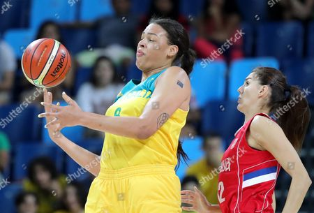 Elizabeth Cambage (l) of Australia Competes For the Ball with Dragana Stankovic (r) of Serbia During Women's Quarterfinal Basketball Game of the Rio 2016 Olympic Games at the Carioca Arena 1 in the Olympic Park in Rio De Janeiro Brazil 16 August 2016 Brazil Rio De Janeiro