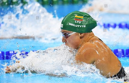 Ruta Meilutyte of Lithuania Competes in the Women's 100m Breastroke Final of the Rio 2016 Olympic Games Swimming Events at Olympic Aquatics Stadium at the Olympic Park in Rio De Janeiro Brazil 08 August 2016 Brazil Rio De Janeiro