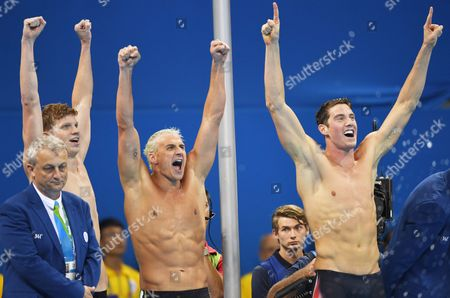 (from Left) Townley Haas Ryan Lochte and Conor Dwyer of Usa Team Celebrate After Winning the Men's 4x200m Freestyle Final of the Rio 2016 Olympic Games Swimming Events at Olympic Aquatics Stadium at the Olympic Park in Rio De Janeiro Brazil 09 August 2016 Brazil Rio De Janeiro
