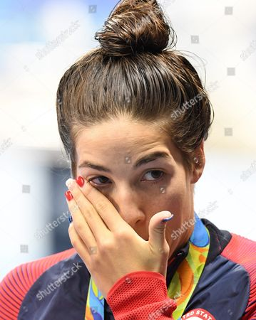 Gold Medalist Maya Dirado of Usa Smiles and Pose During the Round of Honour After the Medal Ceremony For Women's 200m Backstroke Final Race of the Rio 2016 Olympic Games Swimming Events at Olympic Aquatics Stadium at the Olympic Park in Rio De Janeiro Brazil 12 August 2016 Brazil Rio De Janeiro