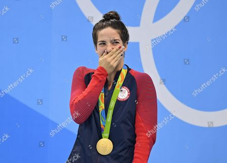 Gold Medalist Maya Dirado of Usa Reacts During the Medal Ceremony For Women's 200m Backstroke Final Race of the Rio 2016 Olympic Games Swimming Events at Olympic Aquatics Stadium at the Olympic Park in Rio De Janeiro Brazil 12 August 2016 Brazil Rio De Janeiro