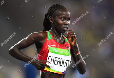 Vivian Jepkemoi Cheruiyot of Kenya is on Her Way to Win the Women's 5000m Final of the Rio 2016 Olympic Games Athletics Track and Field Events at the Olympic Stadium in Rio De Janeiro Brazil 19 August 2016 Brazil Rio De Janeiro