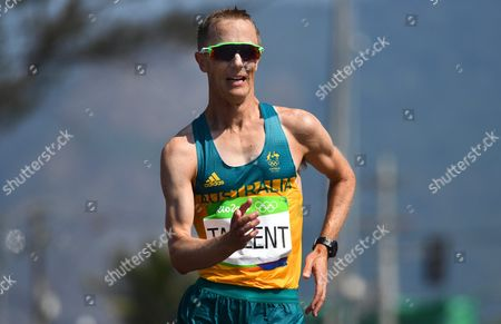 Jared Tallent of Australia is on His Way to Win the Silver Medal in the Men's 50km Race Walk of the Rio 2016 Olympic Games Athletics Track and Field Events in Pontal in Rio De Janeiro Brazil 19 August 2016 Brazil Rio De Janeiro