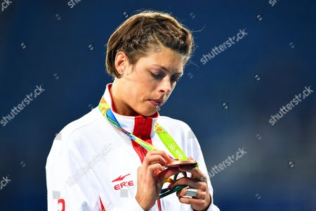 Blanka Vlasic of Croatia Looks at Her Bronze Medal on the Podium of the Women's High Jump Final of the Rio 2016 Olympic Games Athletics Track and Field Events at the Olympic Stadium in Rio De Janeiro Brazil 20 August 2016 Brazil Rio De Janeiro