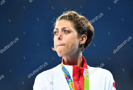 Stock Photo of Blanka Vlasic of Croatia Reacts on the Podium After Winning the Bronze Medal in the Women's High Jump Final of the Rio 2016 Olympic Games Athletics Track and Field Events at the Olympic Stadium in Rio De Janeiro Brazil 20 August 2016 Brazil Rio De Janeiro