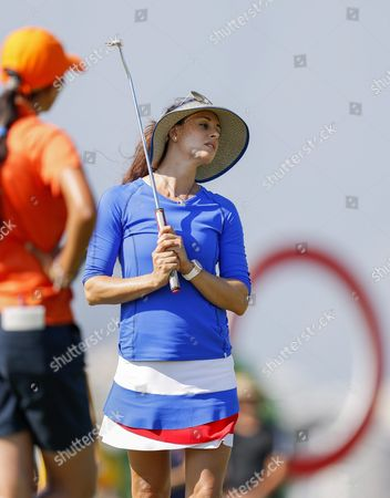Stock Image of Maria Verchenova of Russia Reacts to Her Missed Putt on the Sixteenth Green During the First Round of the Rio 2016 Olympic Games Women's Golf Tournament at the Olympic Golf Course in Barra Da Tijuca Rio De Janeiro Brazil 17 August 2016 Brazil Rio De Janeiro