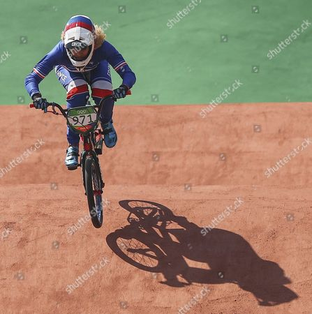 Manon Valentino of France Competes in Action During Women's Bmx Cycling Seeding Run Competition of the Rio 2016 Olympic Games at the Olympic Bmx Centre in Rio De Janeiro Brazil 17 August 2016 Brazil Rio De Janeiro