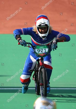 Manon Valentino of France Crosses the Finish Line After Crashing During a Women's Bmx Cycling Final Competition of the Rio 2016 Olympic Games at the Olympic Bmx Centre in Rio De Janeiro Brazil 19 August 2016 Brazil Rio De Janeiro