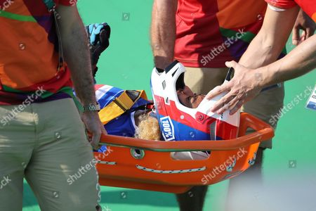 Manon Valentino of Frabce is Stretchered Off After Crashing During a Women's Bmx Cycling Final Competition of the Rio 2016 Olympic Games at the Olympic Bmx Centre in Rio De Janeiro Brazil 19 August 2016 Brazil Rio De Janeiro