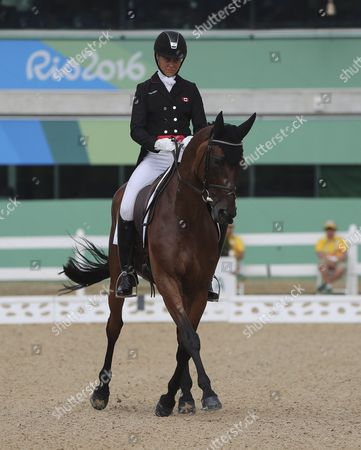 Rebecca Howard From Canada on Her Horse Riddle Master Performs During the Dressage Portion of the Rio 2016 Olympic Games Eventing Individual Competition at the Olympic Equestrian Center in Deodoro Rio De Janeiro Brazil 07 August 2016 Brazil Rio De Janeiro
