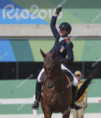 Alice Naber-lozeman From Netherlands on Her Horse Peter Parker Reacts After Completing the Dressage Portion of the Rio 2016 Olympic Games Eventing Individual Competition at the Olympic Equestrian Center in Deodoro Rio De Janeiro Brazil 07 August 2016 Brazil Rio De Janeiro