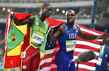 Kirani James (l) of Grenada Celebrates with Third Placed Lashawn Merritt (r) of the Usa After Winning the Silver Medal in the Men's 400m Final of the Rio 2016 Olympic Games Athletics Track and Field Events at the Olympic Stadium in Rio De Janeiro Brazil 14 August 2016 Brazil Rio De Janeiro