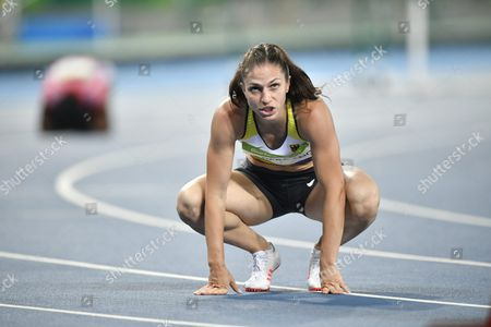 Nadine Hildebrand of Germany Reacts After the Women's 100m Hurdles Semi Finals of the Rio 2016 Olympic Games Athletics Track and Field Events at the Olympic Stadium in Rio De Janeiro Brazil 17 August 2016 Brazil Rio De Janeiro