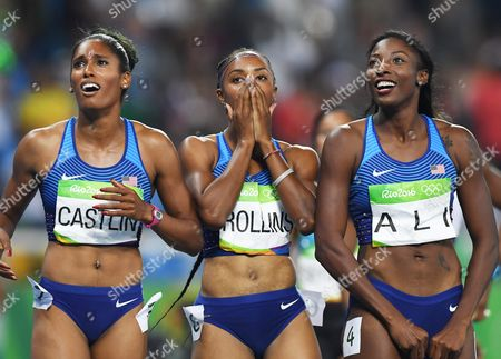 Brianna Rollins (c) of the Usa Celebrates After Winning the Women's 100m Hurdles Final of the Rio 2016 Olympic Games Athletics Track and Field Events at the Olympic Stadium in Rio De Janeiro Brazil 17 August 2016 Rollins Won Ahead of Her Compatriots Second Placed Nia Ali (r) and Kristi Castlin (l) Brazil Rio De Janeiro