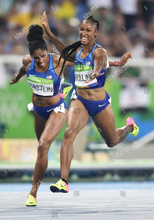 Brianna Rollins of the Usa Wins the 100m Hurdles Final of the Rio 2016 Olympic Games Athletics Track and Field Events at the Olympic Stadium in Rio De Janeiro Brazil 17 August 2016 at Left is Kristi Castlin who Placed Third Brazil Rio De Janeiro