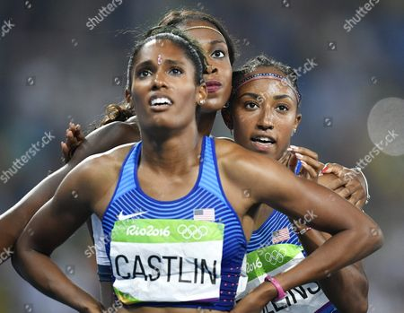 Brianna Rollins (r) of the Usa Celebrates After Winning the Women's 100m Hurdles Final of the Rio 2016 Olympic Games Athletics Track and Field Events at the Olympic Stadium in Rio De Janeiro Brazil 17 August 2016 Rollins Won Ahead of Her Compatriots Second Placed Nia Ali (c) and Kristi Castlin (foreground) Brazil Rio De Janeiro