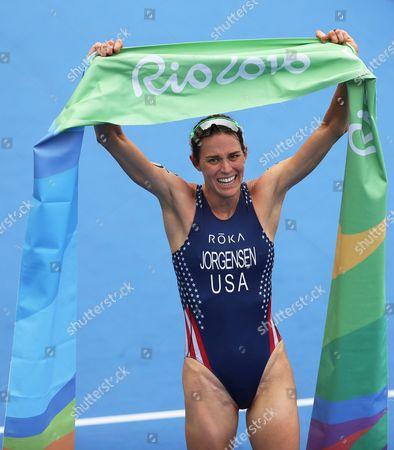 Gwen Jorgensen of the Usa Celebrates After Winning the Women's Triathlon Race of the Rio 2016 Olympic Games at Fort Copacabana in Rio De Janeiro Brazil 20 August 2016 Brazil Rio De Janeiro